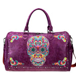 Embroidered Sugar Skull Duffle Bag