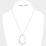 Hammered Oval Necklace |2 colors|