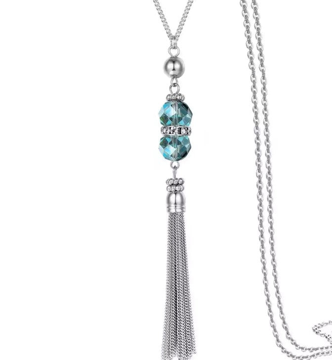 Crystal Tassel Necklace |3 colors|