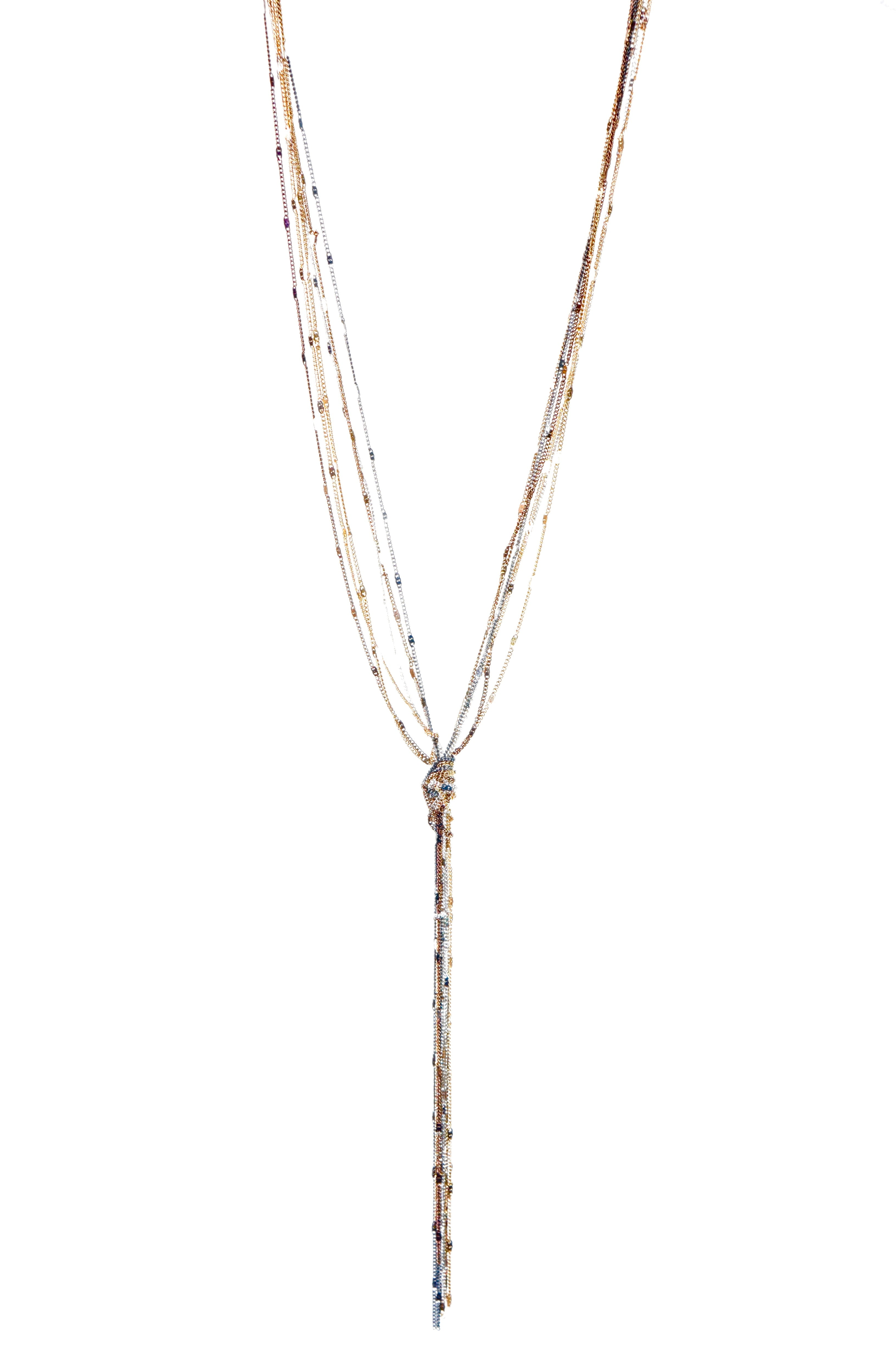 Metal Chain Tassel Y Necklace