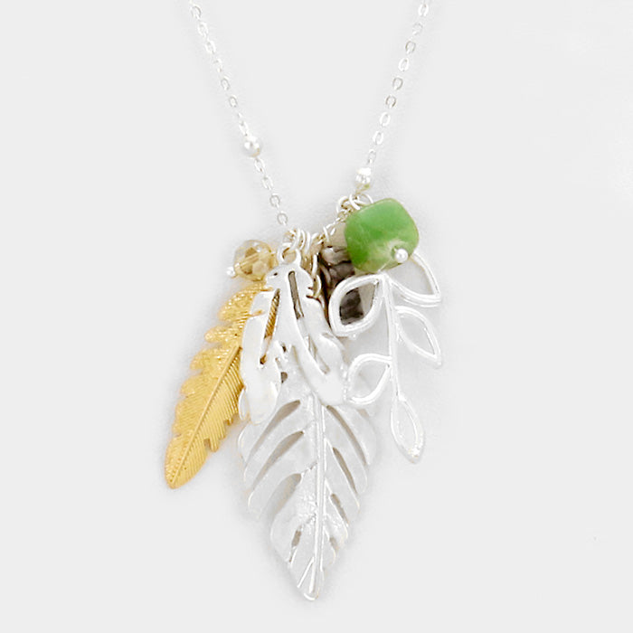 Leaf & Feather Pendant Necklace