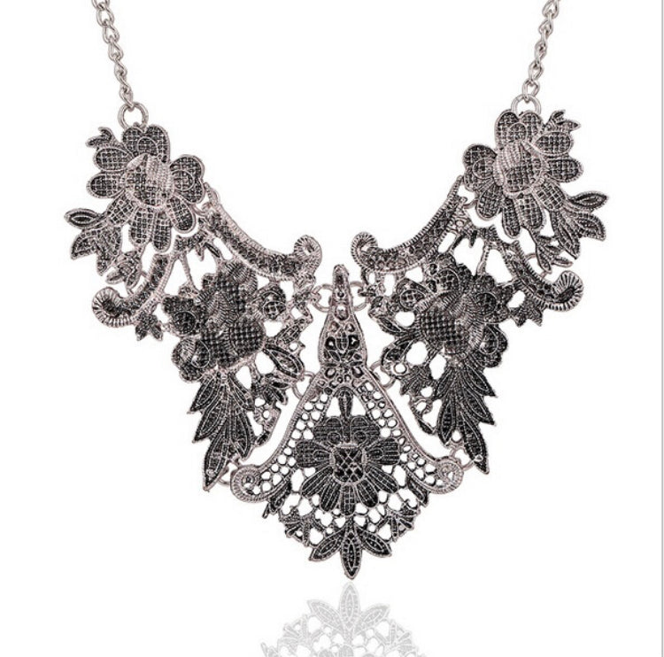 Intricate Metal Bib Necklace