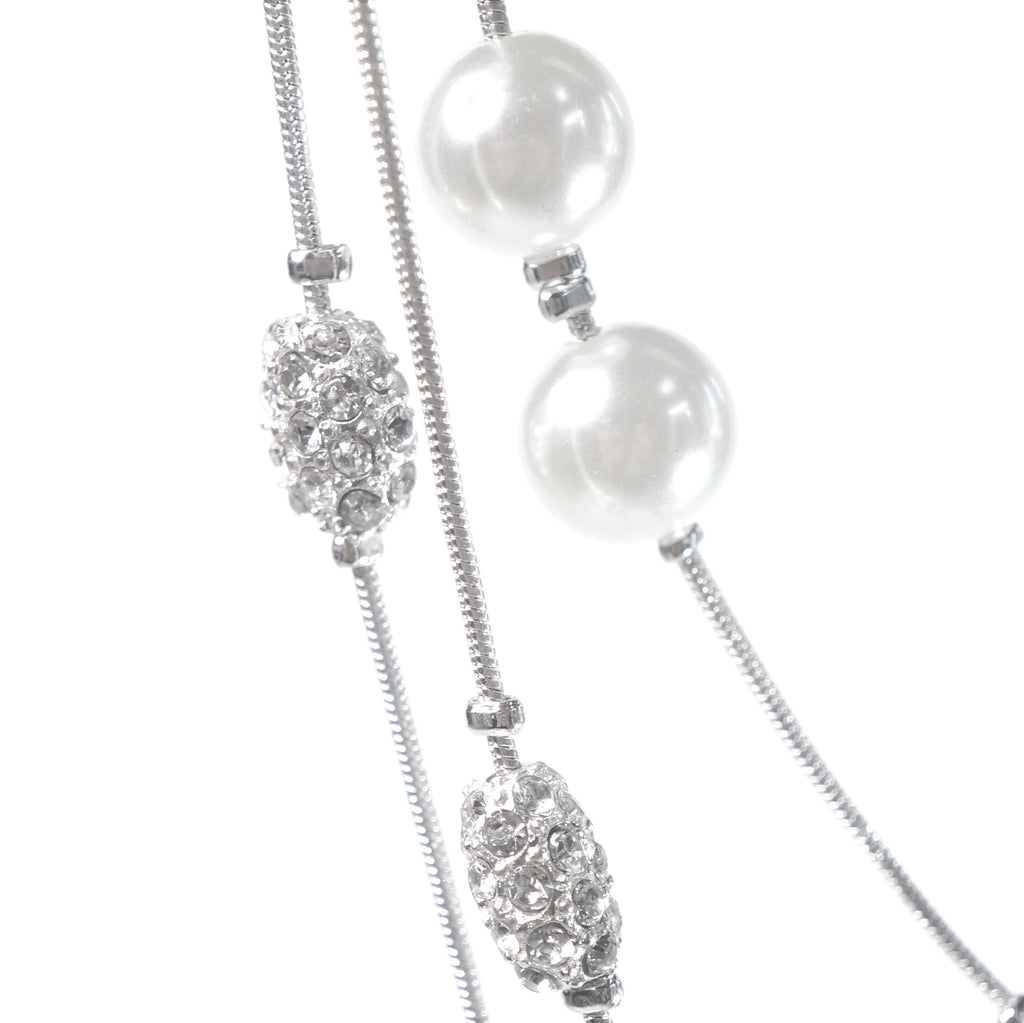 Crystal Pearl Multi Strand Necklace