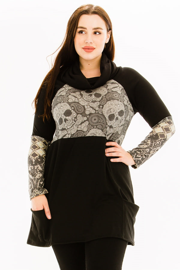 Paisley Skulls Tunic with Pockets
