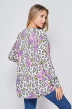 Purple Leopard Floral LongSleeve Top