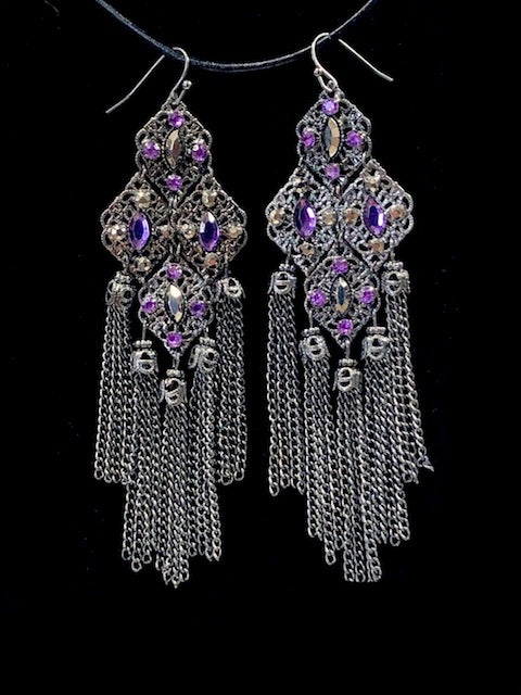 Purple Tassel Chain Earrings