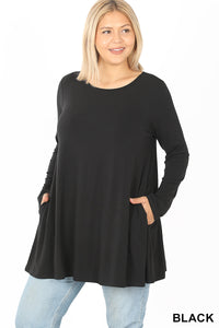 Cindy Flared Longsleeve Top with Pockets