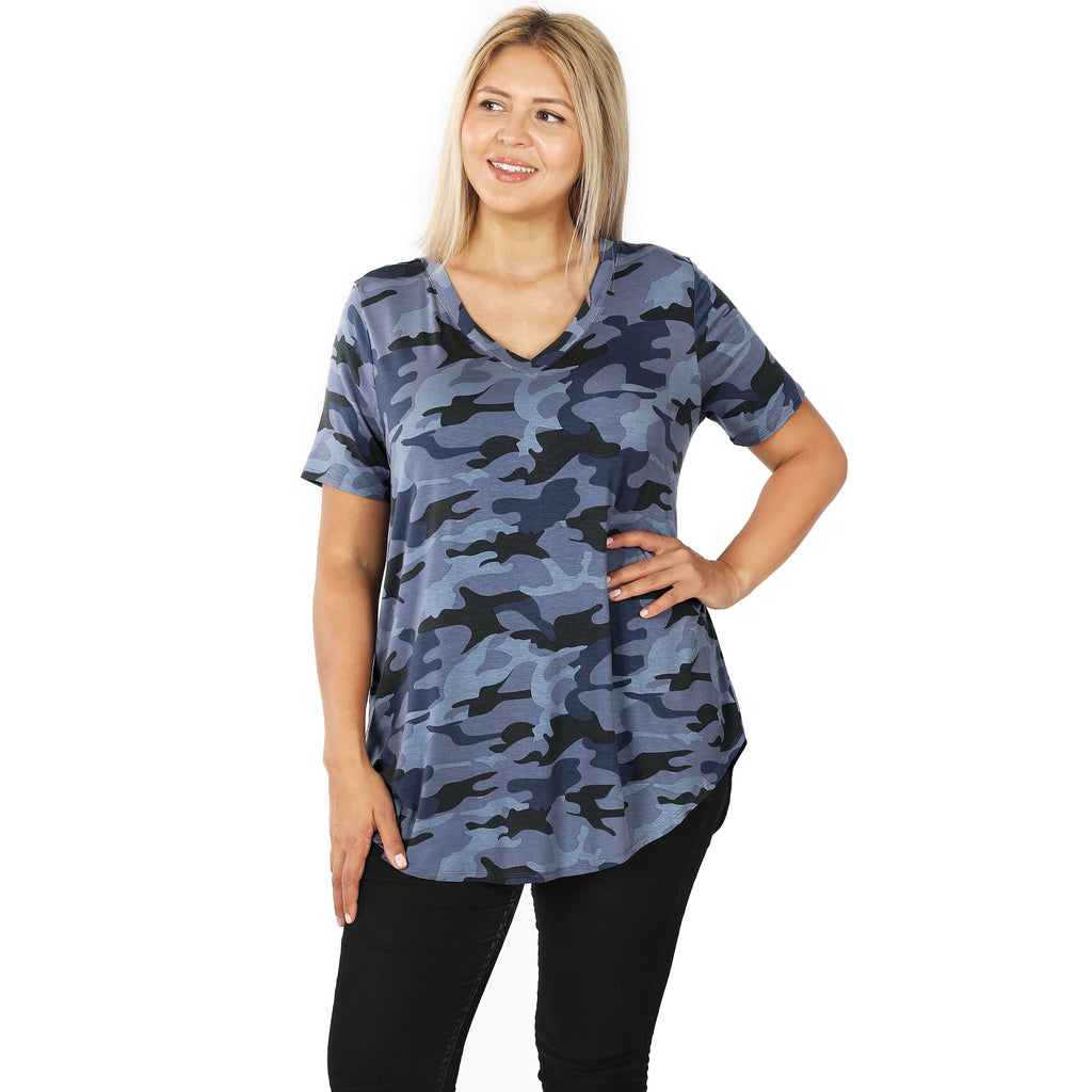 Navy Camo ShortSleeve Top