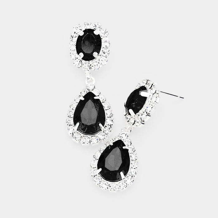 Black Crystal Rhinestone Drop Earrings