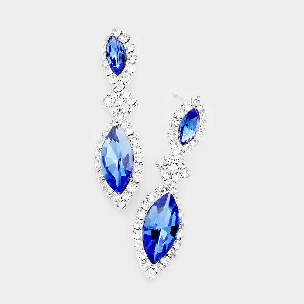 Blue Sapphire Crystal Rhinestone Drop Earrings