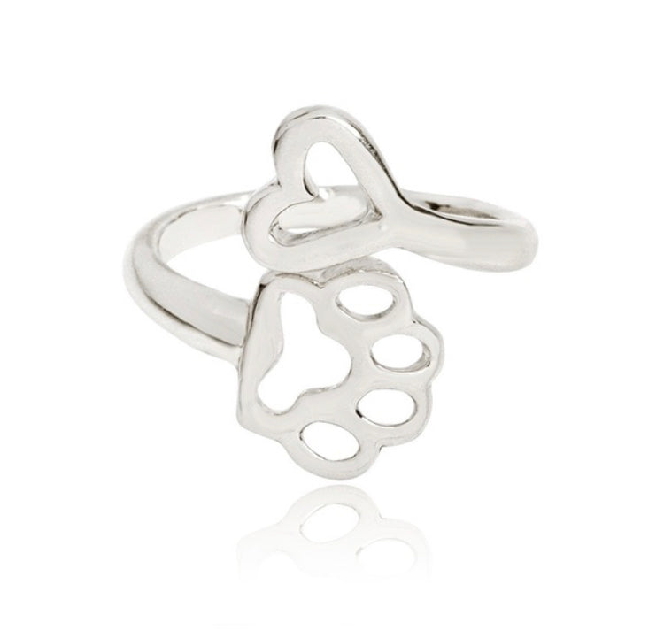 Adjustable Paw Print Heart Ring