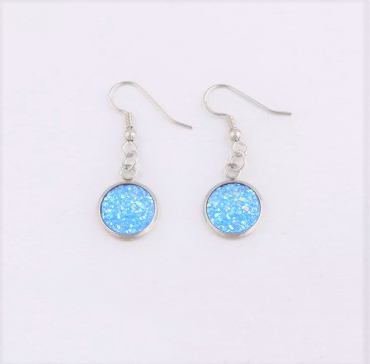 Round Druzy Earrings |16 colors|