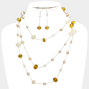 Crystal Bead Wrap Necklace & Earring Set
