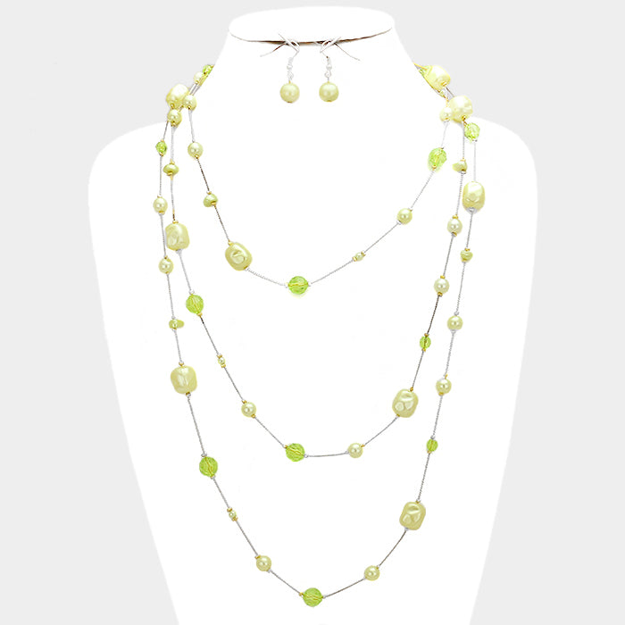 Crystal Bead Wrap Necklace & Earring Set Green