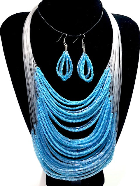 Illusion Bead Necklace & Earring Set Blue