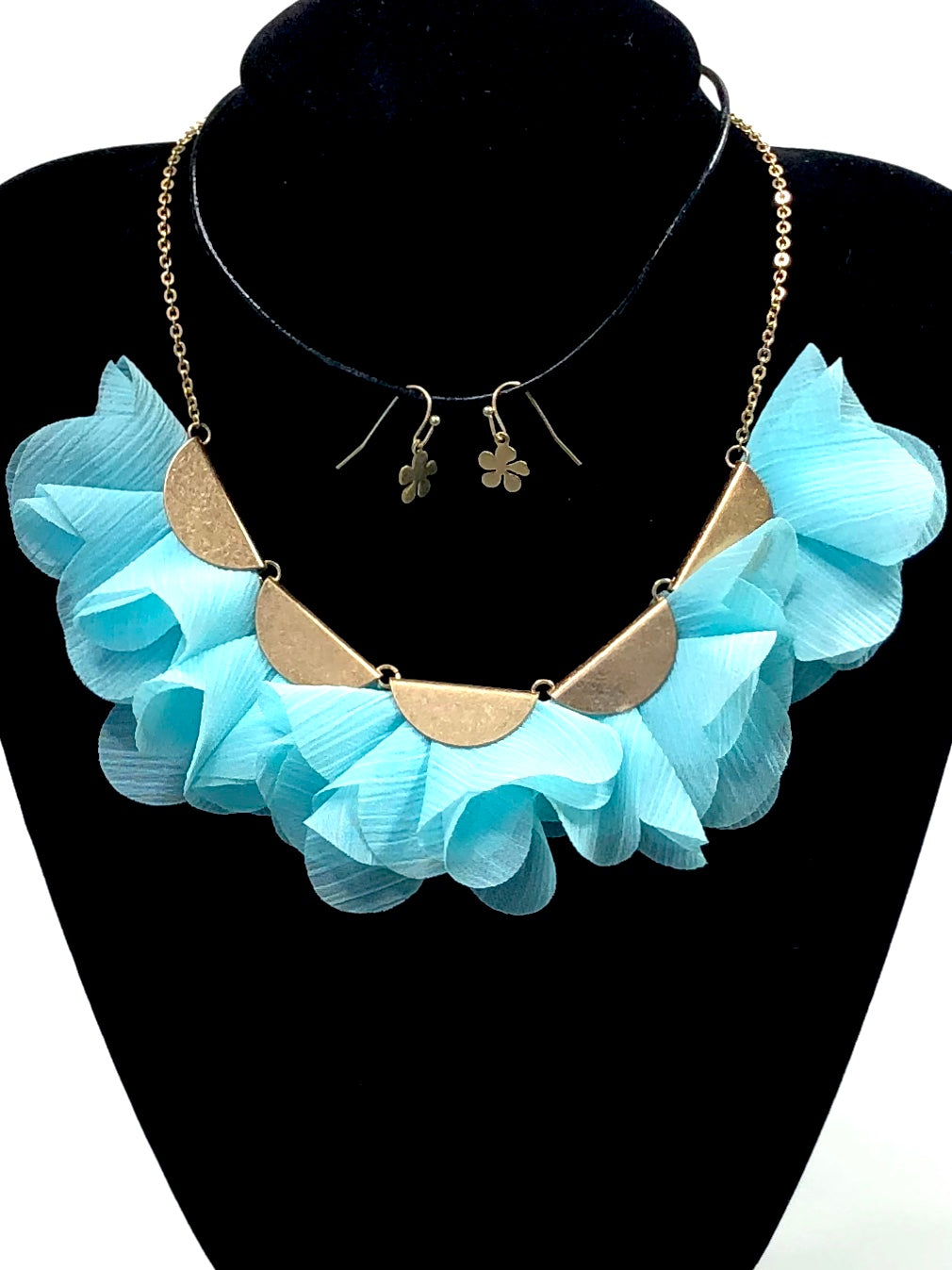 Linen Floral Petals Necklace & Earring Set |2 colors|
