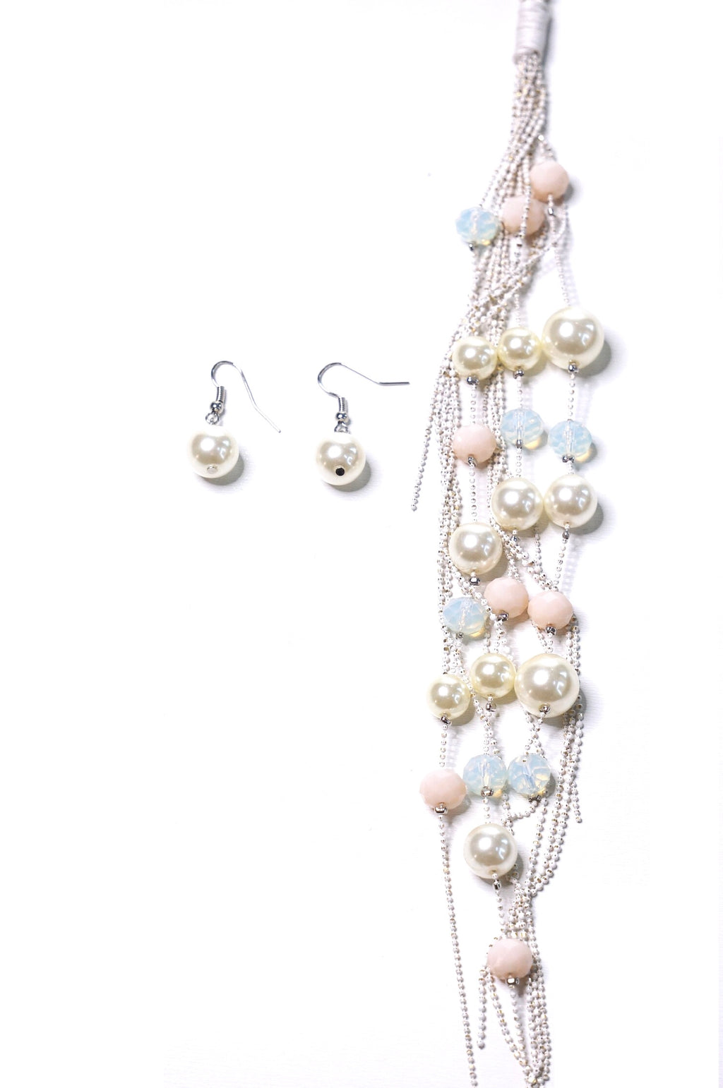 Pearl Tassel Necklace & Earring Set