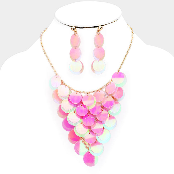 Mermaid Sequin Necklace & Earring Set