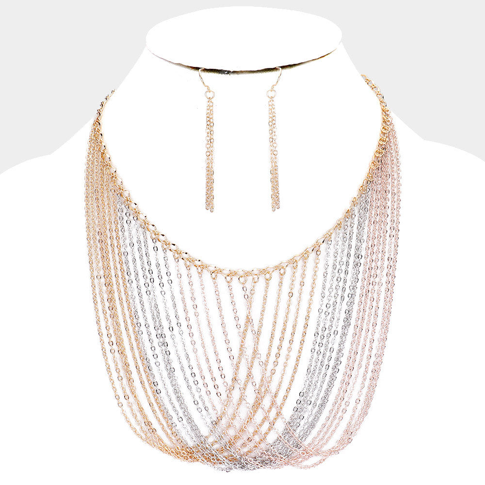 Draped Chain Necklace & Earring Set Multi