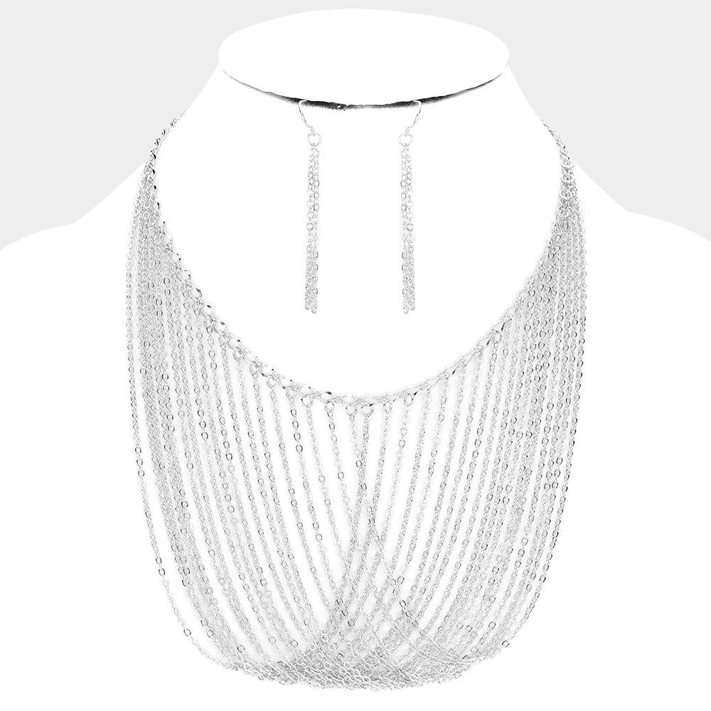 Draped Chain Necklace & Earring Set