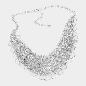 Open Circle Bib Necklace & Earring Set |2 colors|