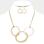 Hammered Oval Links Necklace & Earring Set
