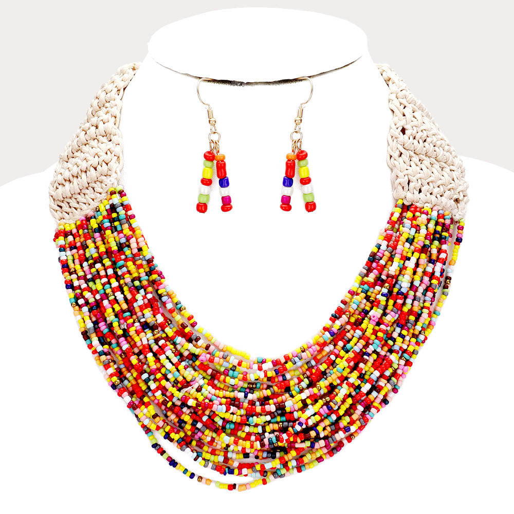 Bead Necklace & Earring Set |4 colors|