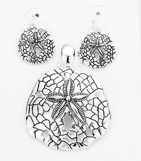Sand Dollar Pendant & Earring Set