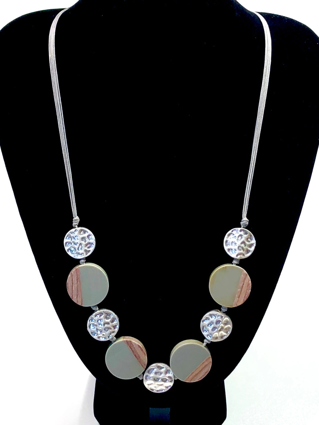 Wooden Bead Coin Necklace