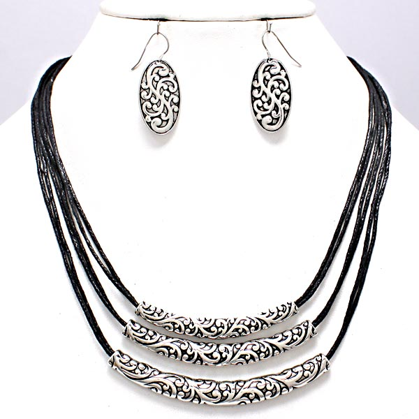 3-tier Tribal Necklace & Earring Set