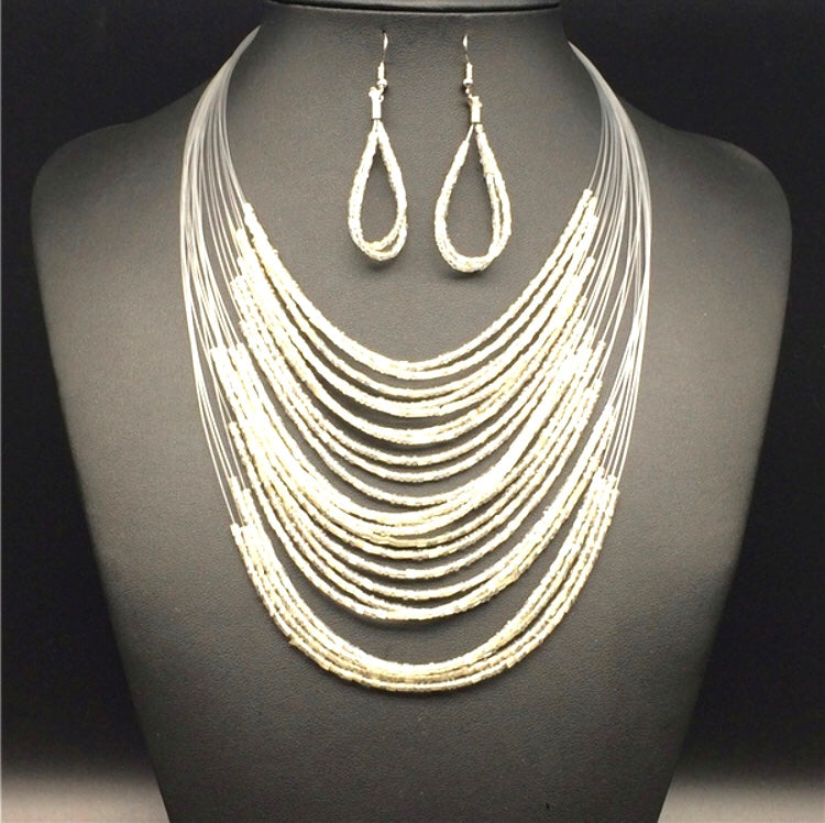 Illusion Bead Necklace & Earring Set White
