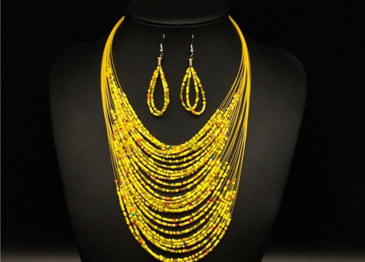 Illusion Bead Necklace & Earring Set Yellow