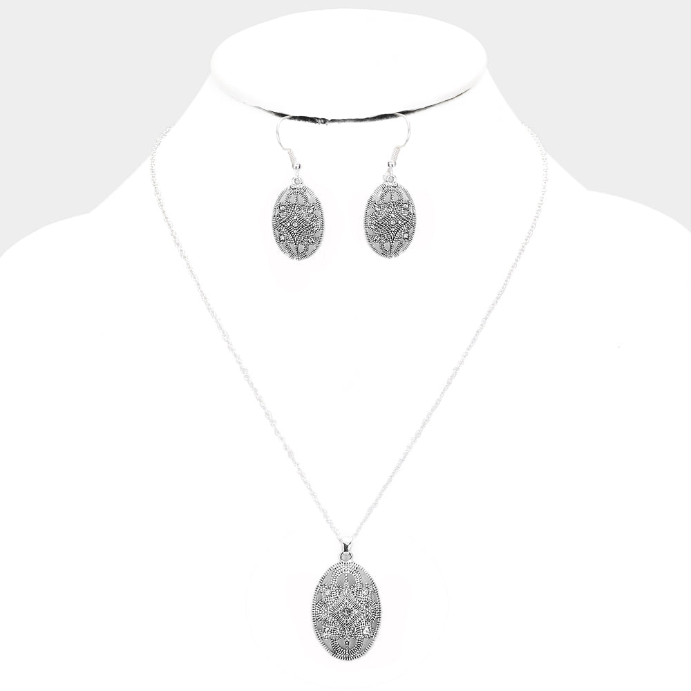 Crystal Filigree Necklace & Earring Set