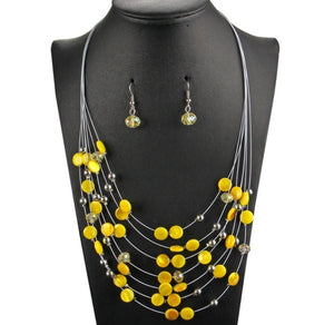Illusion Bead Necklace & Earring Set |3 colors|
