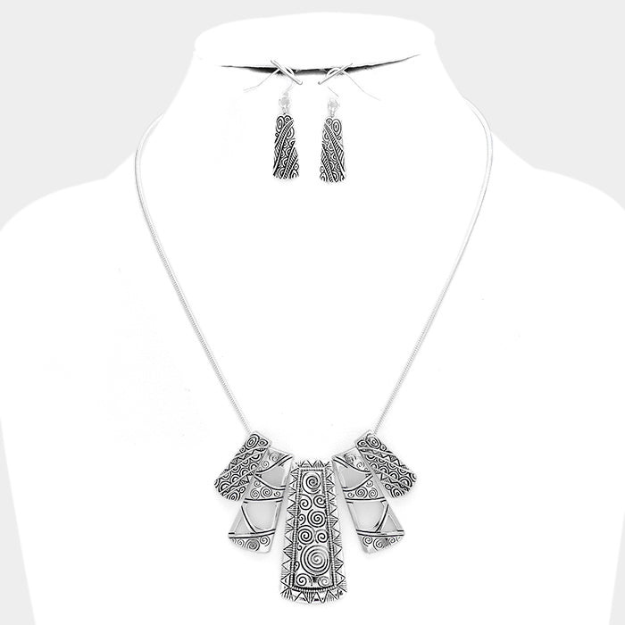 Tribal Scroll Necklace & Earring Set
