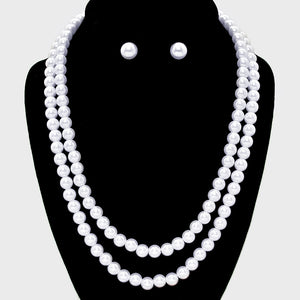 Double Strand Pearl Necklace & Earring Set