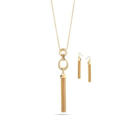 Tassel Pendant Necklace & Earring Set || Gold or Silver ||