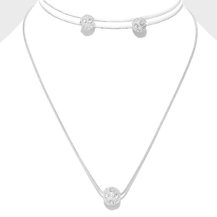 Crystal Ball Necklace & Earring Set