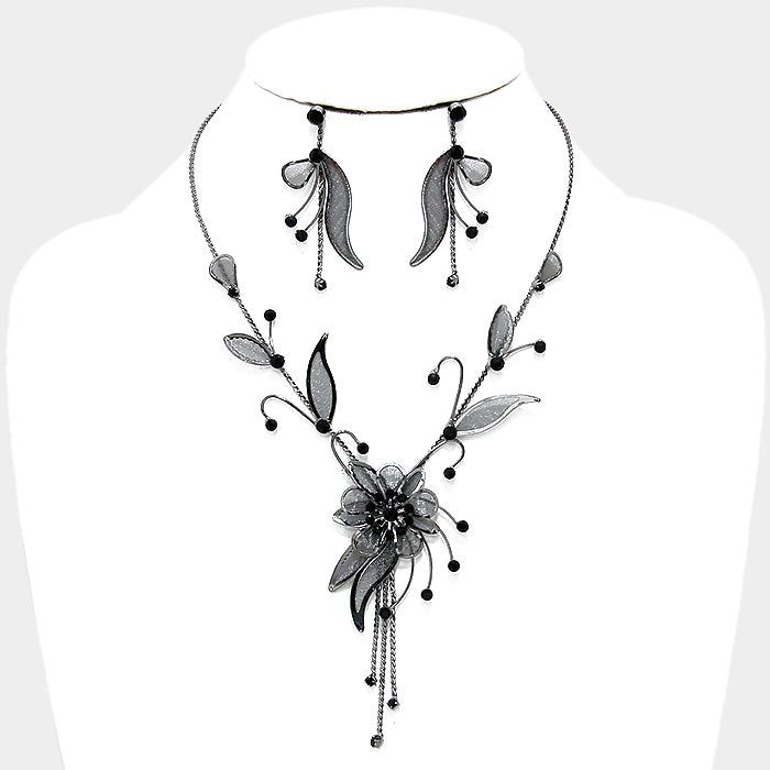 Intricate Floral Leaf Necklace & Earring Set |2 colors|