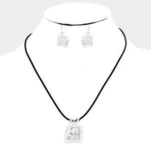 Hammered Square Necklace & Earring Set