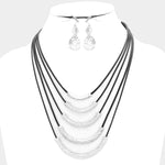 5-tier Hammered Bar Necklace & Earring Set