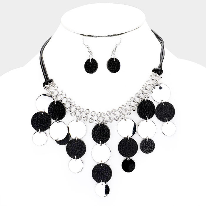 Leather Metal Cascade Coin Bib Necklace & Earring Set |2 colors|