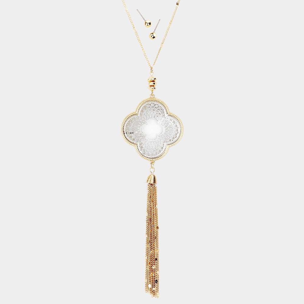 Filigree Clover Tassel Pendant Necklace & Earring Set || Silver or Gold Chain ||