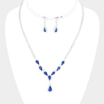 Rhinestone Teardrop Necklace & Earring Set |4 colors|