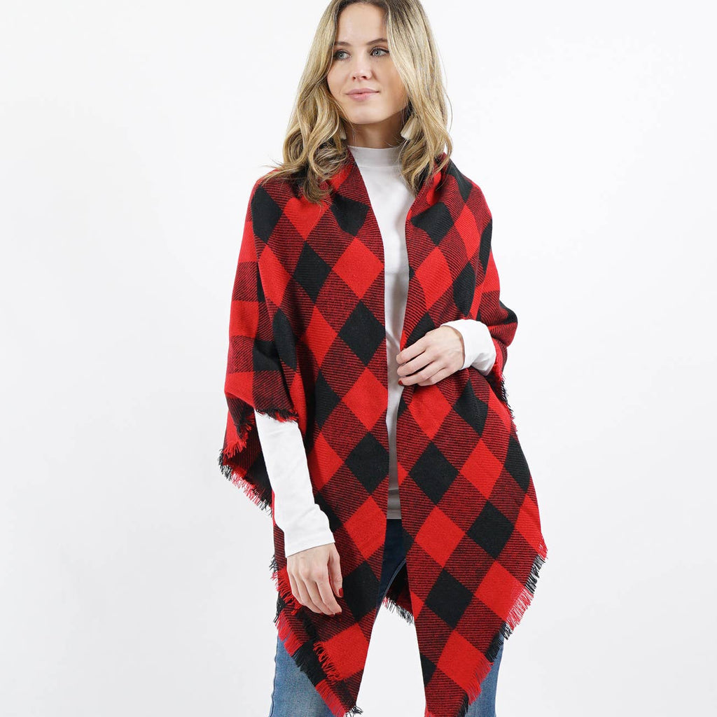 Perfectly Pop of Plaid Shawl Scarf