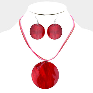 Round Shell Necklace & Earring Set |2 colors|