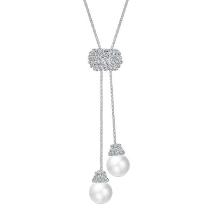 No Clasp Crystal Pearl Drop Necklace
