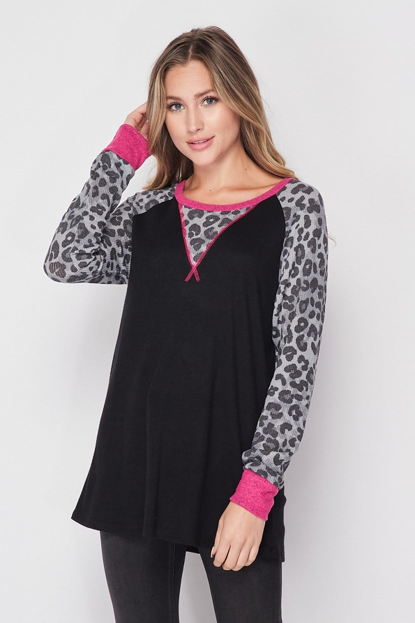 Snow Leopard Black & Pink Fleece LongSleeve Top