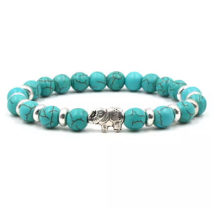 Turquoise Beaded Stretch Elephant Bracelet