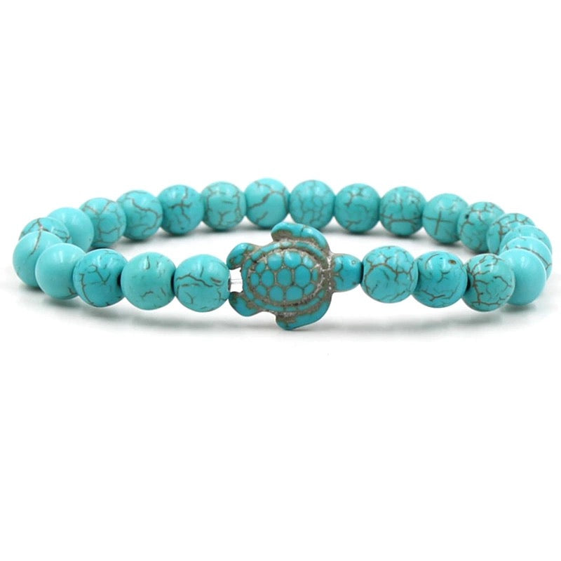 Turquoise Beaded Stretch Turtle Bracelet